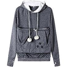 Blinvas Womens Pet Hoodies Kangaroo Pocket Sweatshirt, Plus Size Sweatshirt Kitten Dog Carriers Tops