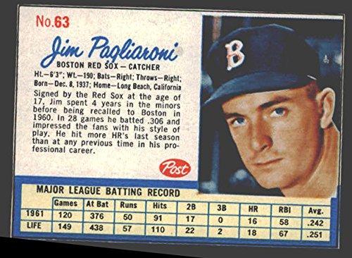 1962 post cereal (Baseball) Card# 63 jim pagliaroni of the Boston Red Sox NrMt Condition