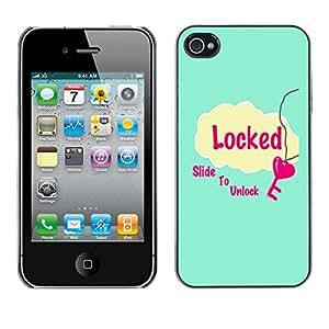 For Apple iPhone 4 / iPhone 4S / 4S Case , Slide To Unlock Blue Heart Pink - Diseño Patrón Teléfono Caso Cubierta Case Bumper Duro Protección Case Cover Funda