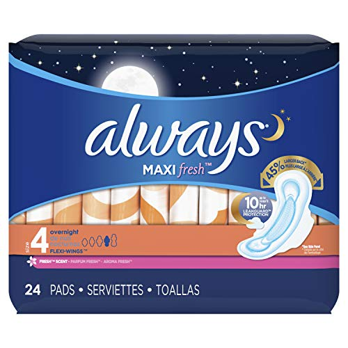 Always Maxi Feminine Pads for Women, Size 4, Overnight Absorbency, with Wings, Fresh Scent, 24 Count-Pack of 6 (144 Count Total) (Packaging May Vary)