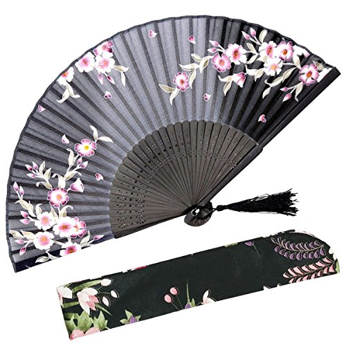 OMyTea Hand Held Silk Folding Fans with Bamboo Frame - with a Fabric Sleeve for Protection for Gifts - 100% Handmade Oriental Chinese/Japanese Vintage Retro Style - for Women Ladys Girls (Black)