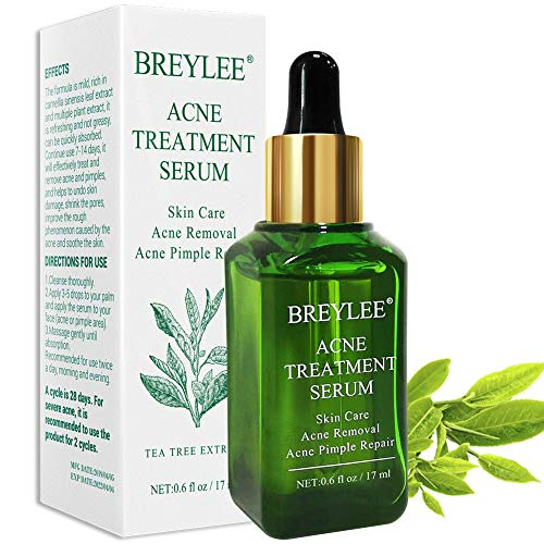 Acne Treatment Serum, BREYLEE Tea Tree Clear Skin Serum for Clearing Severe Acne, Breakout, Remover Pimple and Repair Skin (17ml,0.6oz) (Best Face Cream For Pimples And Dark Spots)