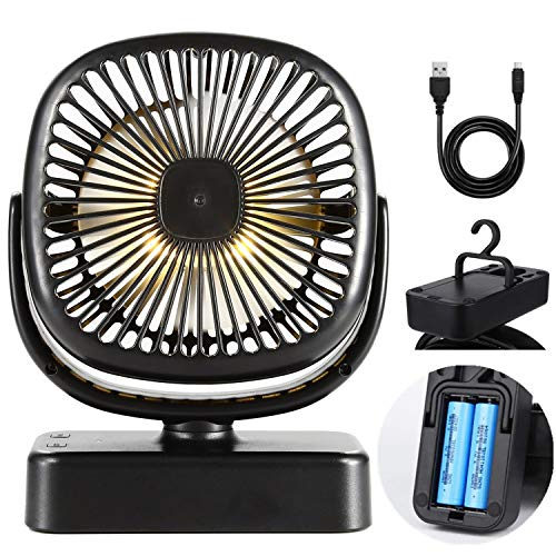 (COMLIFE Camping Fan with Led Lights,USB or 4400 mAh Rechargeable Battery Powered, Tent Fan Lights/Personal USB Desk Fan with Hook for Emergency, Hurricane, Power Outage)