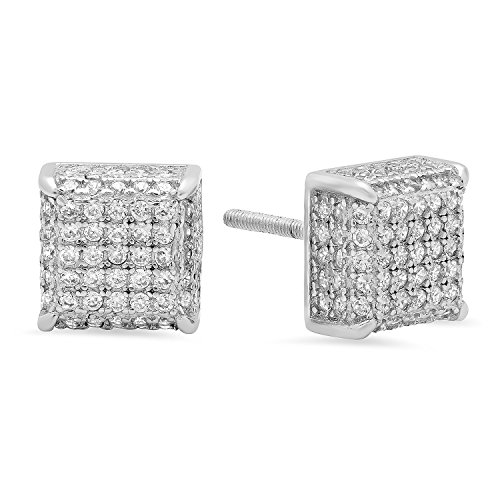 .925 Sterling Silver Square 3D Micro Pave Screw Back Earrings + Microfiber Jewelry Polishing Cloth ()