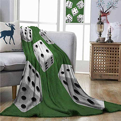 Homrkey Super Soft Lightweight Blanket Modern Casino Gamble Rolling Dice Set Green Background Illustration Fuzzy Blanket W54 xL84 Fern Green White Charcoal Grey -