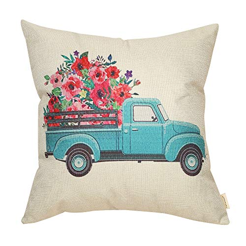 Fahrendom Vintage Floral Truck Farmhouse Style Spring Sign Cotton Linen Home Decorative Throw Pillow Case Cushion Cover with Words for Sofa Couch, 18 x 18 in