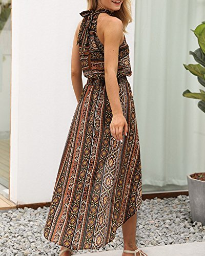 Longue Irrgulire Robe Haute Marron Plage Floral Retro Bohme Femme de Taille I8THRR