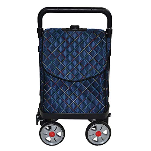 Five-Speed Height-Adjustable Shopping cart with 4 Wheels, Steel Pipe Frame, Adjustable Rolling Push Dolly car with Tote Lightweight Shopping Utility Grocery Cart with Waterproof Canvas Bag