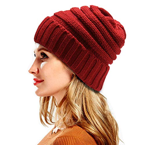 - FADA Slouchy Cable Knit Beanie - Chunky Beanie Hats For Women - Warm Winter Hats Christmas Gift,C-no Hole Red