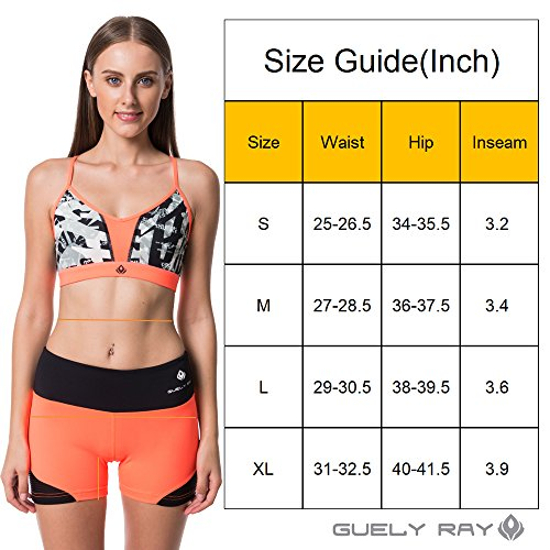 Guely Ray Women's Active Shorts for Workout & Training with Hidden Pocket 11 Styles (L (US 9-11: Waist 29-30.5; Hip 38-39.5), Pink Jungle 3.6'' Inseam) by Guely Ray (Image #6)