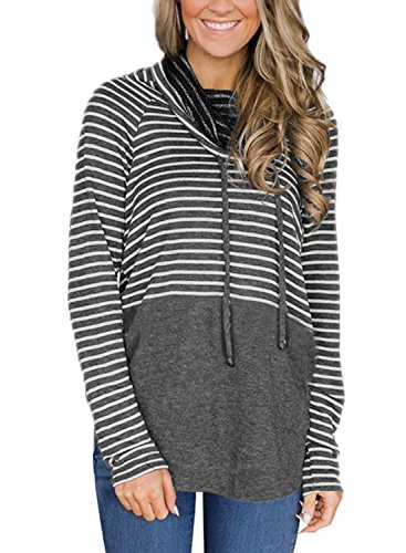 BLENCOT Women's Casual Long Sleeve Stripes Hoodies Tunics Tops Cowl Neck Lightweight Hooded Sweatshirt Pullover with Drawstring (US8-10) (Casual Hooded Long Sleeve)