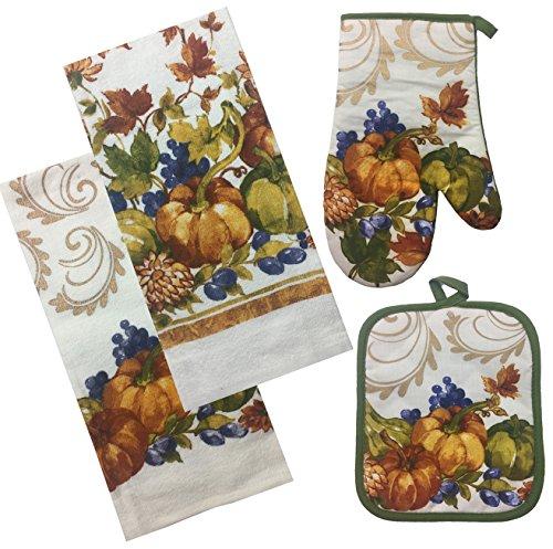 Thanksgiving-Fall-Harvest-Kitchen-Linens-Set-Woodland-Animals-2-Dish-Towels-Oven-Mitt-Pot-Holder-4-Piece-Bundle
