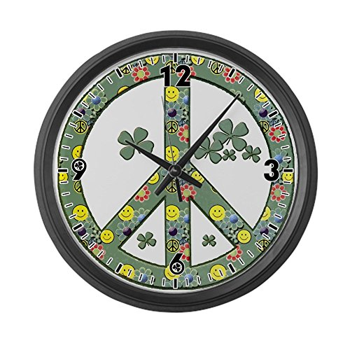 Large Wall Clock Peace Symbol Sign Irish Shamrocks