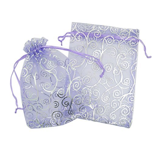 (50 Organza Gift Bags (Purple with Silver Details, 4.5