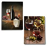 wine and cheese canvas - BANBERRY DESIGNS Canvas Wine Prints - Set of 2 LED Lighted Pictures of Wine - Battery Operated Wall Art for Any Wine Themed Decor