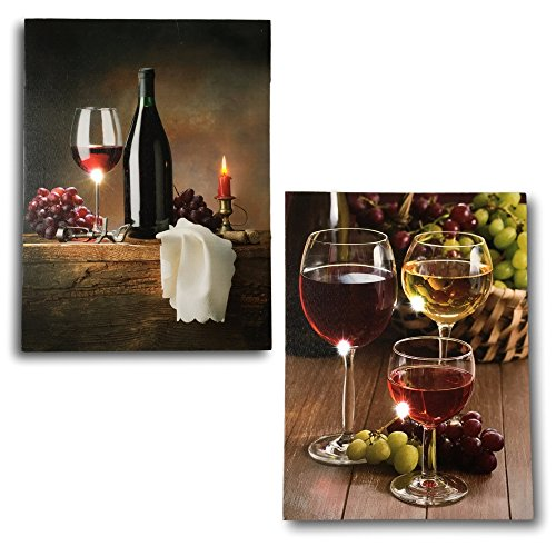 Canvas Wine Prints - Set of 2 LED Lighted Pictures of Wine - Battery Operated Wall Art for Any Wine Themed (Lighted Beverage Set)