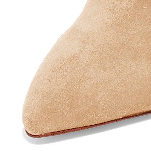 Fsj Vrouwen Slip Op Gesloten Teen Mules Faux Suede Sandalen Stiletto Hoge Hakken Klassieke Schoenen Maat 4-15 Ons Beige