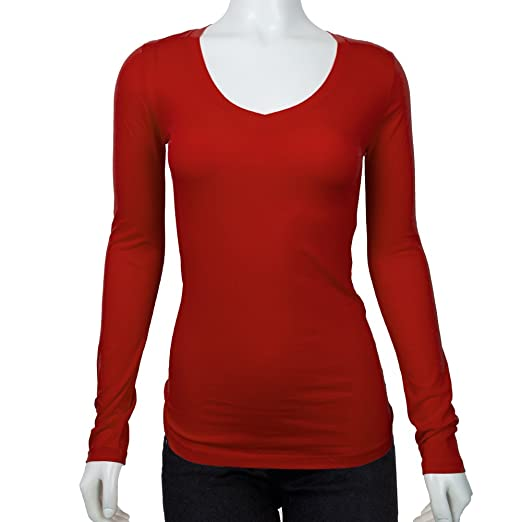 45aa9fb3e Women's Long Sleeve V-Neck Fitted Top Basic T Shirts (Plus Size Available)  at Amazon Women's Clothing store: