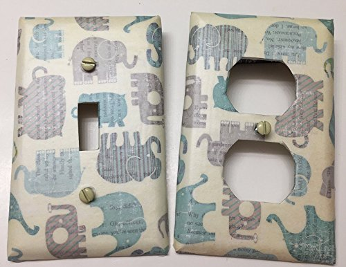 Baby Blue Elephant bedroom, bathroom, light plate cover,light switch plate, outlet cover, outlet plate, home decor, wall art, Decoupage
