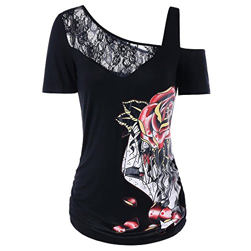 Sleeve Lap Shirt - HGWXX7 Women Summer Fashion Sexy Lace Rose Print Short Sleeve T-Shirt Top Blouse (XXL, Black)
