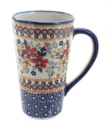 Blue Rose Polish Pottery Red Daisy Large Coffee Mug ()