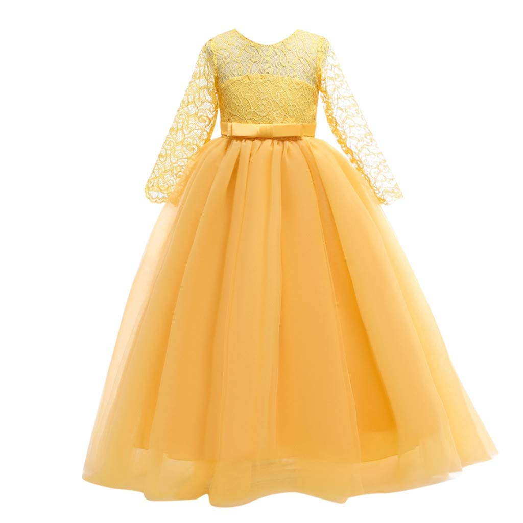 BBTshop Girl Dress Lace Bowknot Princess Performance Bridesmaid Tutu Dress Pageant Gown Outfit Birthday Wedding Party Dresses Skirt Kid Autumn Winter Print Shirt Headband Tunic Shirt Sweater Dress