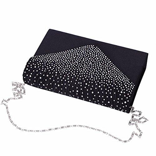 YIZYIF Bolso de Mano Bolso de Embrague Bolsos de Noche Mujer Elegante de Satén Lentejuelas Bolso Sobre con Diamante de Imitación Boda Fiesta Ceremonia Negro