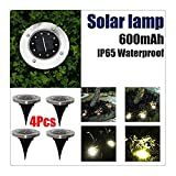 FTXJ 10 LED Solar Power Buried Light Ground Lamp Outdoor Path Light Spot Lamp Yard Garden Lawn Landscape Decking Waterproof (Balck B, 4 PCS)