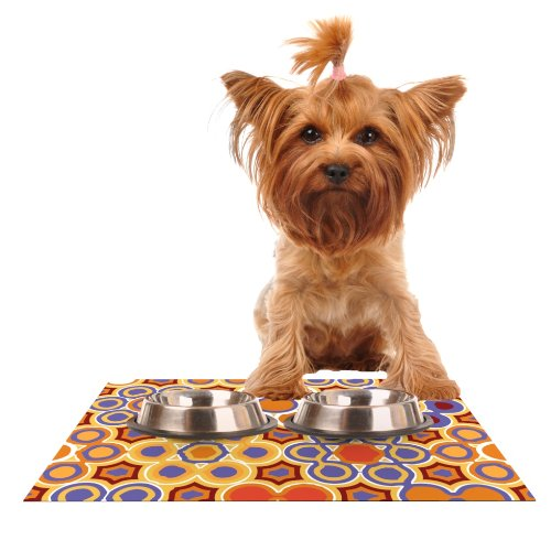 KESS InHouse Laura Nicholson Flower Garden  Feeding Mat for Pet Bowl, 18 by 13-Inch
