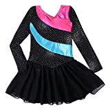 Kidsparadisy Girls Long Sleeve Dance Leotard with Skirt Dress Tulle Rainbow Stripe Gymnastic Costumes for 2-11Y Girls (Blacklong, 140(8-9T))