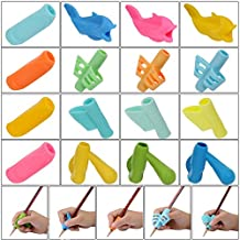 YUEAON 16 pack all purpose Pencil Grips for kids handwriting-Righties and Lefties-silicone Aid Grip Posture writing Correction device Tool holder claw for pen - Assorted Colors