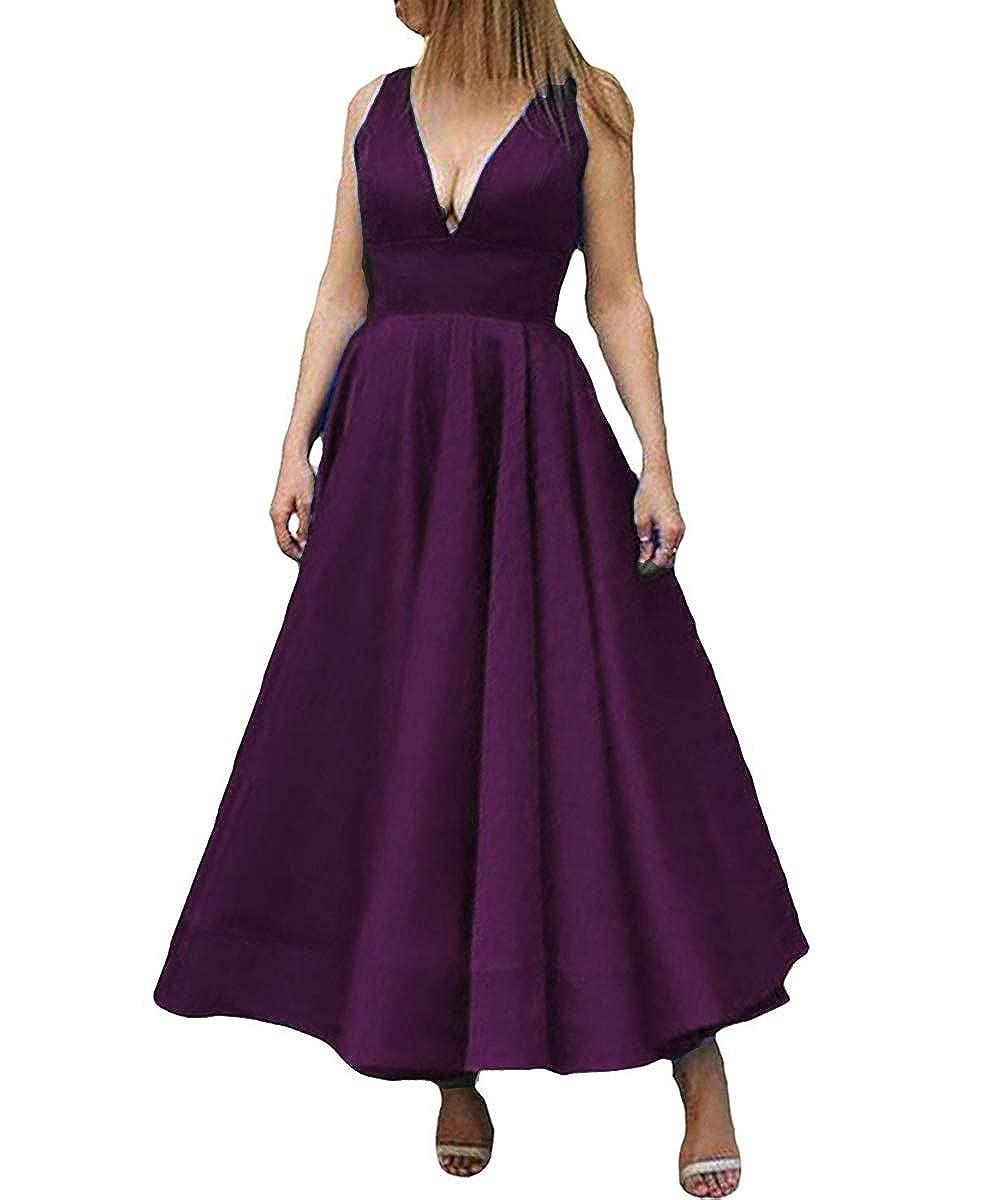 Deep Purple Kivary Deep V Neck A Line Ankle Length Corset Backless Formal Prom Evening Dress