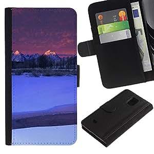 All Phone Most Case / Oferta Especial Cáscara Funda de cuero Monedero Cubierta de proteccion Caso / Wallet Case for Samsung Galaxy S5 Mini, SM-G800 // Nature Moutnain Tips