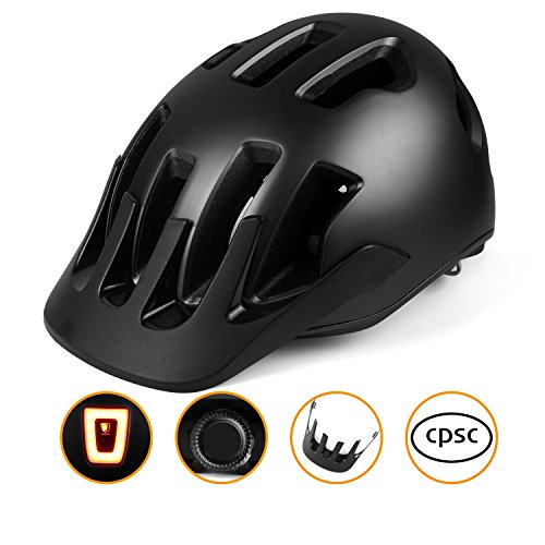 Shinmax NEO Mountain Bike Helmet, Basecamp AM Designed Racing Helmet Upgrade Bicycle Helmet with Removable Visor and USB Rechargeable LED Light for Adult Men&Women Cycling/Road/Mountain - Helmet Bicycle Racing
