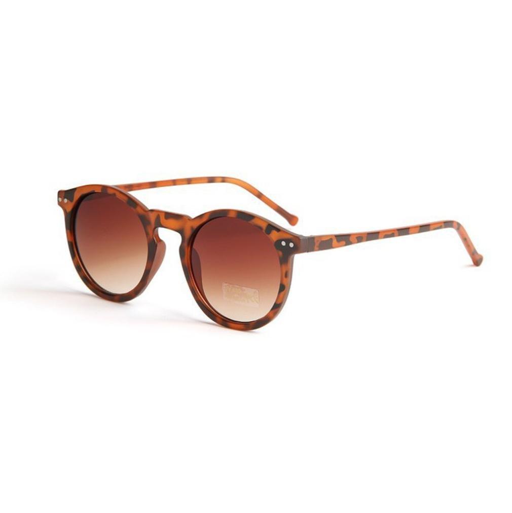 LHWY Femmes hommes lunettes de soleil transparentes circulaire classique ton miroir rétro lunettes de soleil (Or, F)