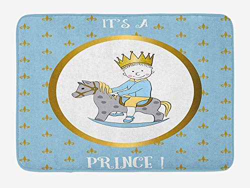 (Weeosazg Gender Reveal Bath Mat, It's A Prince Quote with Newborn Boy Riding a Horse Damask Inspired, Plush Bathroom Decor Mat with Non Slip Backing, 31.5 X 19.7 Inches, Gold)