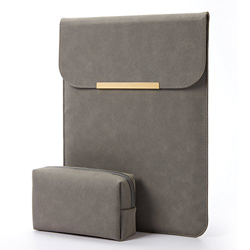 13.3 inch for Macbook Air/13 inch MacBook Pro Retina 2017 2016,Faux Suede Leather-Dark Gray (Faux Leather Shell)