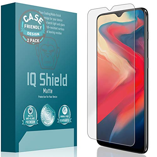 OnePlus 6T Screen Protector [Case Friendly][2-Pack], IQ Shield Matte Anti-Glare Screen Protector for OnePlus 6T Bubble-Free Film