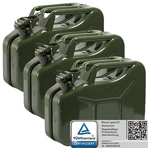 Oxid7 3x Benzinkanister Kraftstoffkanister Metall 10 Liter Olivgrün mit UN-Zulassung - TÜV Rheinland Zertifiziert - Bauart geprüft - für Benzin und Diesel 4052704056667