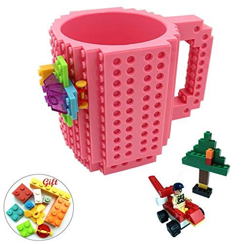 (Havitar embedded brick cup 10 colors, creative building block cup DIY building coffee cup (built-in 3 packs of building blocks), Christmas gifts)