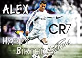 Cristiano Ronaldo CR7 Real Madrid Edible Cake Topper Personalized Birthday 1/4 Sheet Decoration Custom Sheet Party Birthday on Wafer Rice Paper