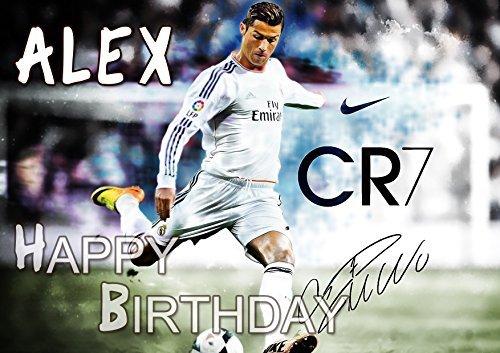 Cristiano Ronaldo CR7 Real Madrid Edible Cake Topper Personalized Birthday 1/4 Sheet Decoration Custom Sheet Party Birthday on Wafer Rice Paper by EdibleInkArt