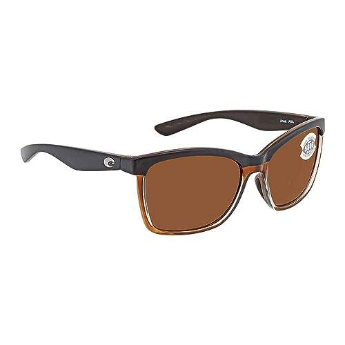 5fefde0a6f Costa Del Mar Anaa Sunglasses Shiny Black On Brown Copper 580Glass ...