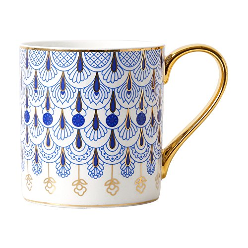 CHOOLD Luxury British Style Blue Floral Fine Bone China Coffee Mug with Golden Handle Spoon,Valentines Gift 14oz ()