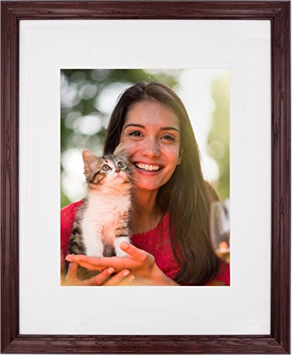 - New 16x20 Picture Frame - Dark Cherry Ash Hardwood w/Mat for Family & Friends Photos, 1-1/4 Inch Wide Molding - Hand Made in USA by Northern