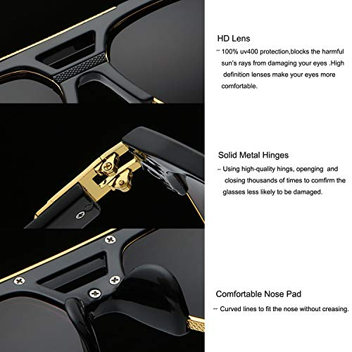 59ea31e0919c3 Allt Square Aviator Large Fashion Sunglasses For Men Women Goggle Alloy  Frame Glasses (Black Gold