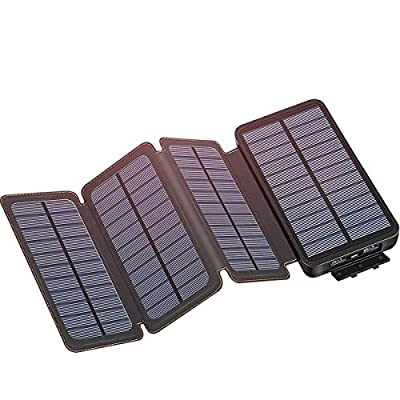 Solar Charger 25000mAh, IXNINE Solar Power Bank with 4 Solar Panels