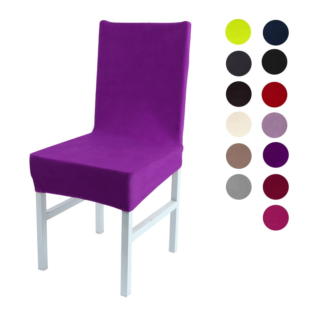 Amazon Uxcell Stretch Spandex Short Dining Room Chair Covers Velvet Slipcovers Multi Color Seat Purple Home Kitchen