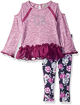 Calvin Klein Baby Girls 2 Pieces Tunic Legging Set, Berry, 12M