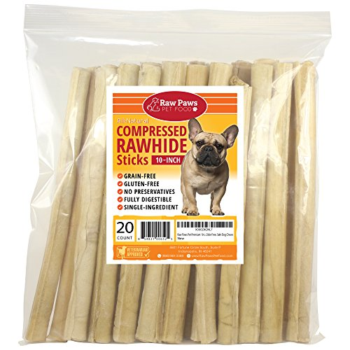 Raw Paws Pet Premium 10-inch Compressed Rawhide Sticks for Dogs, 20-Count - Packed in The USA - Natural Rawhide Dog Chews - Rawhide for Large Dogs - Safe Rawhide Rolls ()